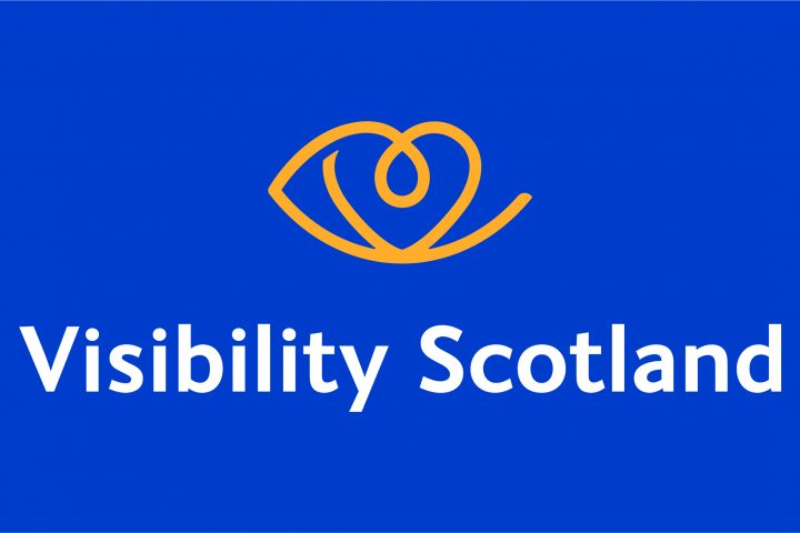 visibility scotland logo on a blue background