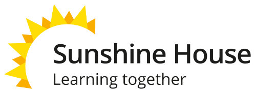 Sunshine motif with text that reads Sunshine House learning together